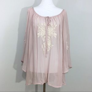 NWT World Market Lavender Embroidered Peasant Top